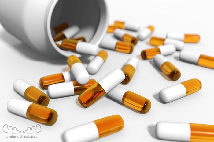 Viele Pillen mit Dose