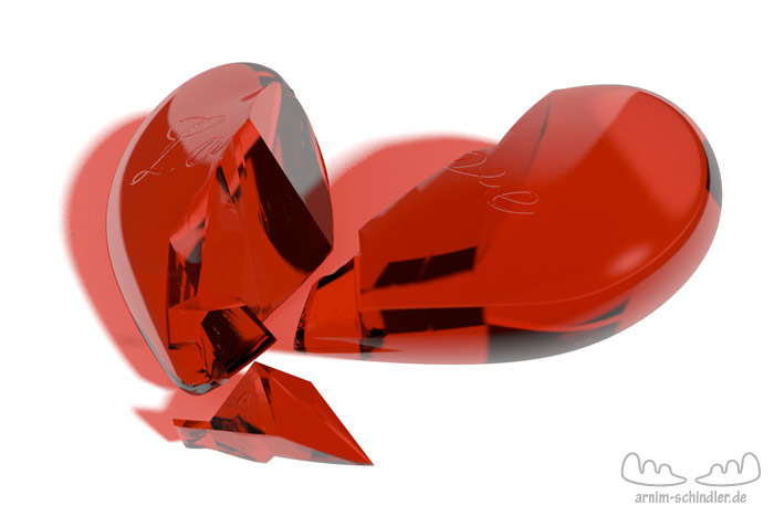 zerbrochenes Herz aus Glas